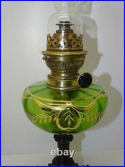 LAMPE A PETROLE ART NOUVEAU BOL Vert & DORURES BELLE TETE MATADOR à SYSTEME déco