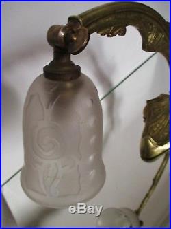 LAMPE BRONZE orientable ART DÉCO 1930 petite tulipe gravée à l'acide Era Muller