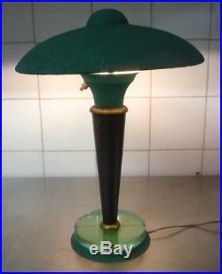 LAMPE CHAMPIGNON ART DECO-dalle de verre-dlg desny, perzel, adnet, bauhaus, nauny
