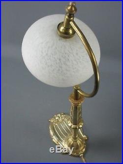 LAMPE CHEVET VIDE-POCHE BRONZE ART DECO TULIPE PTE DE VERRE SCHNEIDER H 38 cm