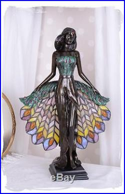 LAMPE DE TABLE STYLE TIFFANY 40cm ART NOUVEAU DECO STATUE FEMME SCULPTURE