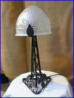LAMPE FER FORGÉ dôme verre dépoli