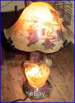 LAMPE GALLE EN PATE DE VERRE SIGNEE Modèle rare