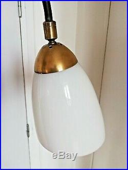 LAMPE LAMPADAIRE TRIPODE ACIER OPALINE BISEAUTÉE CORDE ERE ROYERE LUNEL 50 60 s