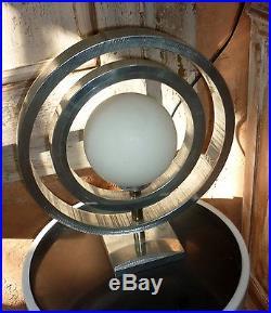 LAMPE MODERNISTE en aluminium brossé SATURNE signé HISLE France architecte