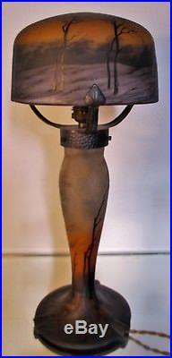 LAMPE MULLER FRÈRES PTE DE VERRE gravée Art Nouveau / Déco ERA DAUM GALLE