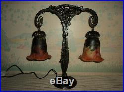 LAMPE PIED FER FORGE TULIPE DAUM era MULLER GALLE ART DECO/NOUVEAU 1900