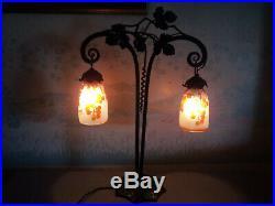 LAMPE PIED FER FORGE TULIPE DEGUE era DAUM MULLER GALLE ART DECO/NOUVEAU 1900