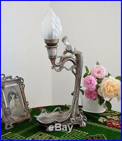 LAMPE STYLE ART NOUVEAU DECO 50cm STATUE FEMME FIGURINE STATUETTE LUMINAIRE