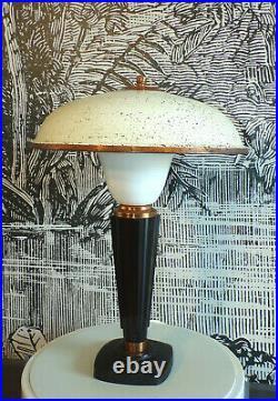 LAMPE de table CHAMPIGNON CUIVRE BAKéLITE OPALINE ART DéCO DESIGN 1920-50-ANCIEN