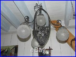 LUSTRE ART DÉCO FER FORGE 4 FEUX. Luminaire lampe tulipesMULLER DEGUE. FRENCH LAMP