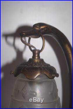 Lampe ART DECO bronze Charles Ranc non signé cygne