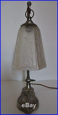 Lampe ART DÉCO en bronze nickelé signé Charles Ranc et Hettier & Vincent 1925