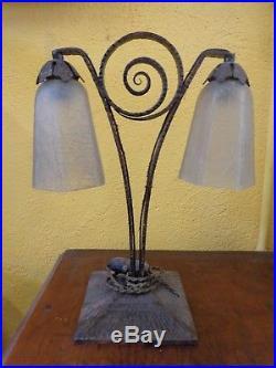 Lampe A Poser Art Deco 2 Tulipes Année 1930