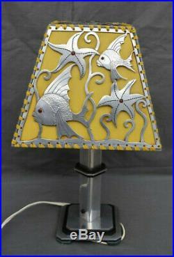 Lampe A Poser Art Déco Abat Jour Ajouré Décor Stylisé Sous Marin Poissons