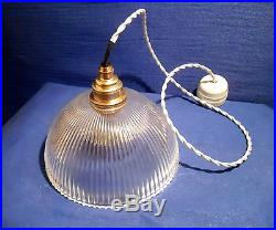 Lampe Abat-jour Dôme En Verre Holophane Artdeco Douille Laiton Ampoule Retro