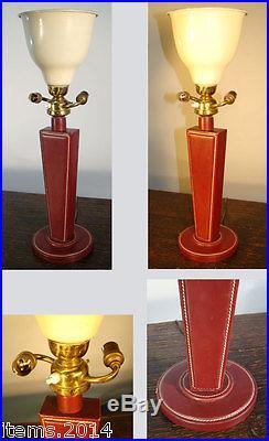 Lampe Adnet Jacques Adnet (attribue A) Grande Lampe En Cuir Pique Sellier