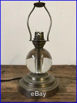 Lampe Adnet Verre Chrome Art Deco Design Vintage Ancien Lamp Glass