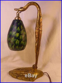 Lampe Ancienne Bronze Signée C. Ranc Art Nouveau Deco 25 / 30