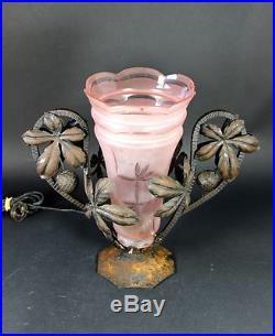 Lampe Art Deco 1930 fer forgé & tulipe / Lamp 1930 Art Deco wr. Iron & tulip rose