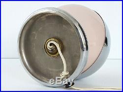 Lampe Art Deco Boule Acier Chrome & Verre Rose 1920 1930 Vintage 20s 30s