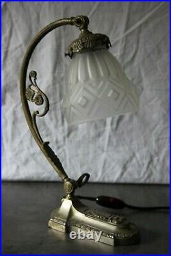 Lampe Art Deco Bronze Argente Muller Degue Schneider