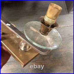 Lampe Art Deco Design Moderniste Lamp Verre Cristal Adnet Ancien Vintage