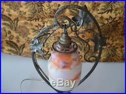 Lampe Art Déco Fer Forger Pte De Verre