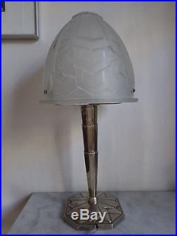 Lampe Art Deco OBUS verre bleuté signé P MAYNADIER