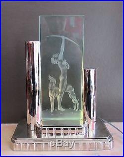 Lampe Art Deco Reedition Guimard Bronze Chrome Et Verre Grave Acide