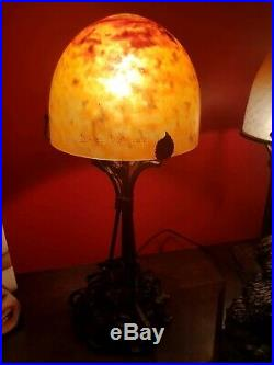 Lampe Art Deco fer forge pate de verre daum nancy france schneider muller