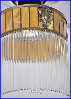 Lampe Art Suspension Deco Antique Belle De Verre Rare Ancien Plafonier Vintage