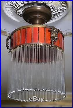 Lampe Art Suspension Deco Antique Belle De Verre Rare Ancien Plafonnier Vintage