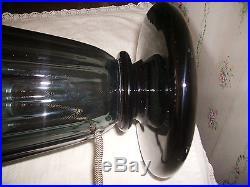 Lampe Art déco en cristal fumé cannelé Daum NANCY France 1925 1930