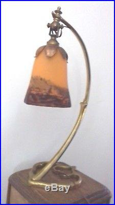 Lampe Bronze Art Deco Tulipe Signee Degue French Chandelier Lamp Lustre Muller
