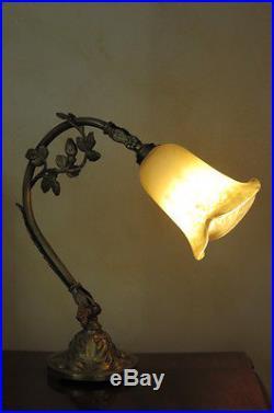 Lampe Bronze Art Nouveau Art Deco Tulipe Pate De Verre Lamp Shade Art Glass
