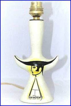 Lampe Capron Vallauris Torero céramique années 1950