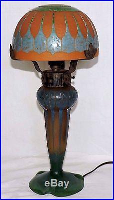 Lampe Champignon Art Deco Le Verre Francais Signature Au Berlingot Parfait Etat