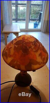 Lampe Champignon Pate De Verre, Style Gallé Muller