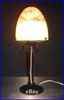Lampe DAUM NANCY FRANCE pate de verre-fer forgé-gallé, schneider, lalique