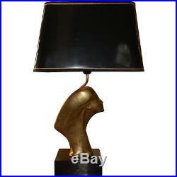 Lampe De Salon 1970 à Décor d'Un Visage De Profil En Bronze Doré