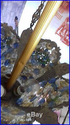 Lampe Design Suspension Lustre Bronze Art Deco Pate De Verre Pampilles