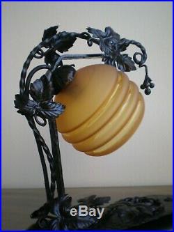 Lampe Fer Forge Ancien Art Deco Luminaire 1930 Decor Verre Orange Feuillage