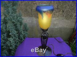 Lampe Fer Forge Tulipe Daum Muller Galle Art Deco/nouveau Pate De Verre 1900