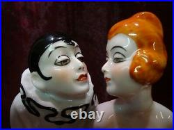 Lampe Figurine Clown Pierrot Pierrette Arlequin Style Art Deco Style Art Nouveau