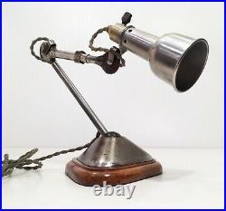 Lampe GRAS 207 oculiste Art Deco Bauhaus Industrial Factory Table Lamp 1920 30