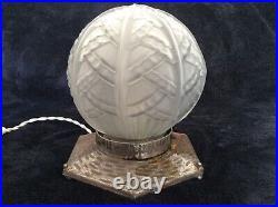 Lampe / Globe Montgolfiere Verre Moule Art Deco