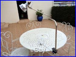 Lampe Industrielle Atelier Potence Courbée Bras Chrome Art déco Architecte Gras