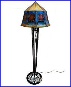 Lampe Lampadaire Art Deco Art Nouveau Fer Forge Verrerie Muller Daum Schneider