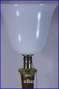 Lampe MAZDA cuivre et bois 1960 ART DÉCO